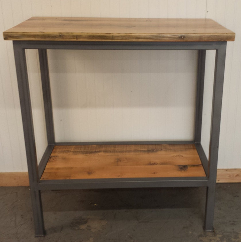 Handcrafted Bar Height Sofa Console Table With Shelf Below Has
