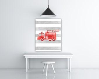 Fire Truck Nursery Art Boy Room Art, Kids Room Decor, Vehicle Fire Truck Wall Art Printable Watercolor Paint, Red Gray Nursery Print Fireman