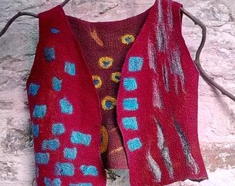 """Vest / waistcoat  """"Fiesta"""" . Reversible OOAK nuno felted . Art to wear"""