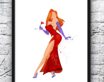 Jessica Rabbit Watercolor Print, Who Framed Roger Rabbit, Red Dress, Movie Poster, Home Decor, Kids Room Decor, Watercolor Painting - 514