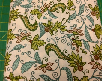 Cherish Nature fabric. cream green blue flowers floral leaf classic quilters cotton quiltingModa 752106787605