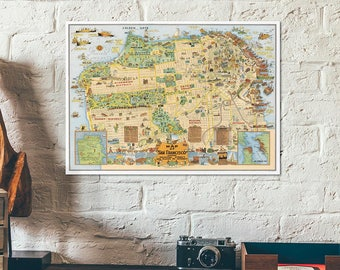 San Francisco pictorial map 1927 - Cartoonized map - Funny map - Old American city map