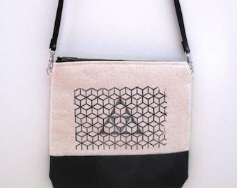 gocco printed embroidered bag, crossbody purse, geometric pattern, triangle print bag, screen printed purse, zipper fastening, long strap