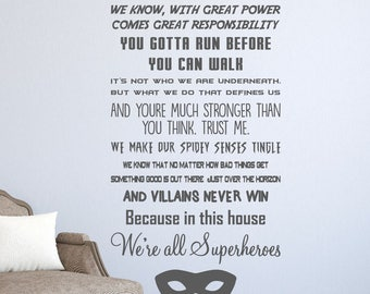 IN THIS HOUSE We're all superheroes   Wall sticker decal home graphics quote   Kids   Wall words available in 23 colour choices  wqb58