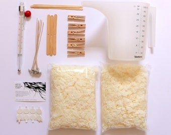 Candle Making DIY Kit with Eco-Soy Wax, all supplies and instructions to make your own soy candles