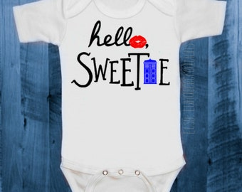 Toddler & Baby Sizes   Doctor Who Inspired Bodysuit   Boy or Girl   Hello, Sweetie   Blue Tardis   Geeky Onesie   BBC   River Song   Cute