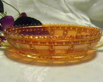 Marigold Carnival Glass Relish Dish - Pickle Dish, Candy Dish, Trinket Dish, Jewelry Dish