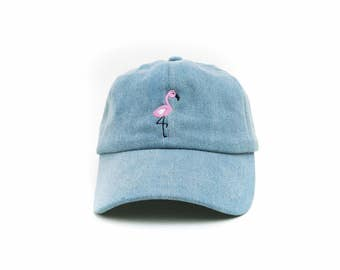 Flamingo Dad Hat, Flamingo Baseball Cap, Denim Hat, Embroidered Baseball Cap, Adjustable Strap Back Baseball Cap, Low Profile