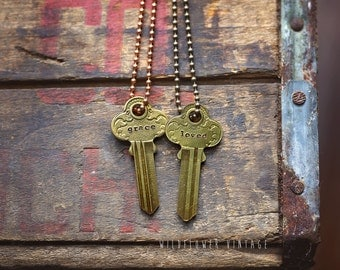 Double-sided Ornate Key Necklace | Vintage Repurposed Rare