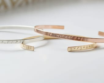 Personalized Cuff Bracelet In Sterling Silver, Gold Filled & Rose Gold by The Statement House - Dainty Gold Cuff Stacking Bracelet, Mantra