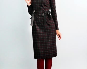 Plaid dress Jersey dress Autumn dress Burgundy dress with long sleeves Gray dress