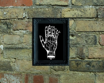 Palmistry Hand Illustrated A5 Print (Negative)