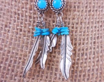 Native American Turquoise Feather Sterling Earrings