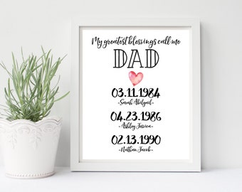 My Greatest Blessings Call Me Dad Print Printable, Personalized Dates Names Print, Digital, 8x10, Customize, Christmas Gift, Gift For Him