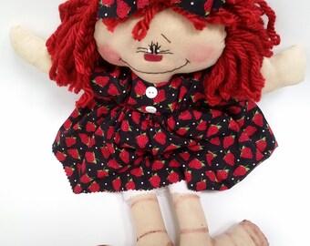 Rag doll, primitive doll, Primitive Raggedy Ann doll, country doll, loll lover gift, primitive raggedy doll, raggedy doll, handmade rag doll