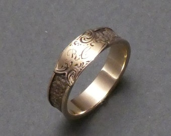 14K hair ring c 1840 size 5.5 initials RC