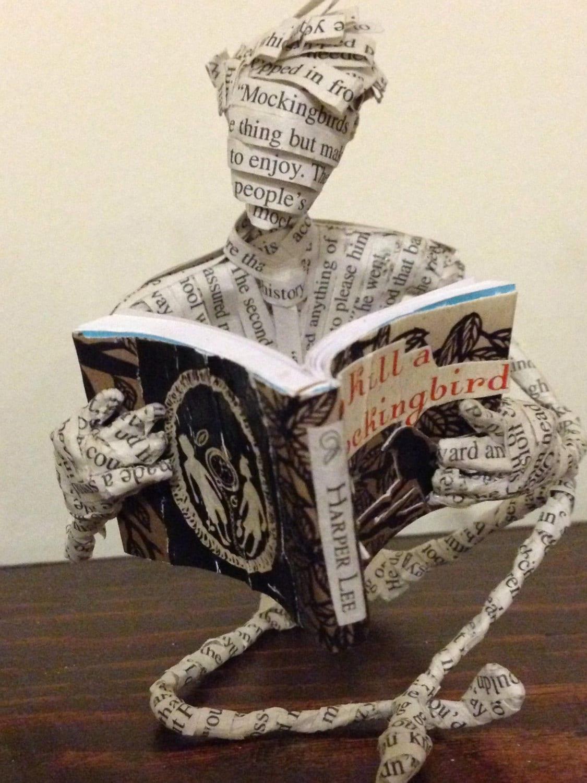 Harper Lee, Book, Book Art, Mockingbird, paper mache sculpture, book lover, librarian gift, Atticus Finch, repurposed book, altered book