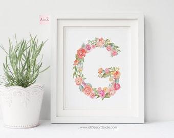 Letter Print, Floral Printable Letter, Monogram Print, Personalized Print, Nursery Wall Art, Alphabet Print, Christmas Gift, Cadre, DT238