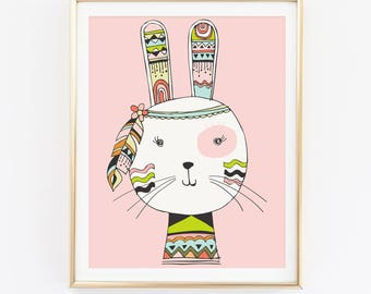 Bunny Print, Animal Print, Nursery Wall Art, Watercolor Print, Kids Room Print, Baby Shower Gift, Cadre, Wall Art Prints, Home Decor, D81-27