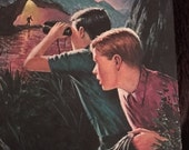 Vintage book for reading, altered book art, art journaling, collaging: Hardy Boys hardcover #45 The Mystery of the Spiral Bridge