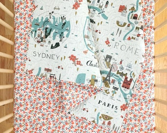 Wholecloth Quilt - 'Rifle Paper Co.' City Maps and Rosa in Peach - MADE-to-ORDER