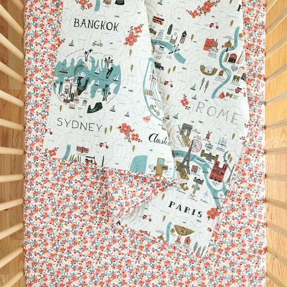 Wholecloth Quilt - Rifle Paper Co. Baby Quilt in City Maps and Rosa in Peach - MADE-to-ORDER