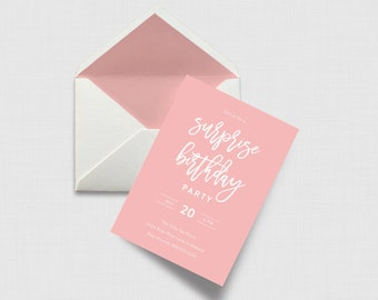 """Script Surprise Party 5"""" x 7"""" Party Invitation - Digital or Printed"""