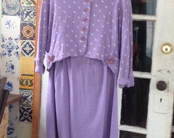 Vintage linen blend lavender skirt suit
