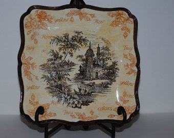 Platter, Vintage Country French Toile Platter, Hand Painted Square Platter with Toile Village Center, Rose Border, Decorative, Home Decor