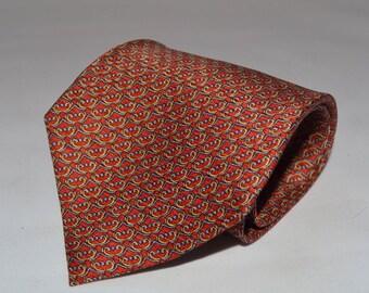 Designer Silk Necktie Daniel de Fasson 100% silk Hand Made Tie Geometric Pattern Red