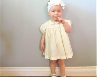 Vintage 1950's Creamy Pink Baby Girl Dress / Infant Antique Doll Flannel Cotton Dress Size 12 Months