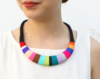 Multicolor Wrapped Chunky Bib Necklace Colorful Statement Necklace Jewelry Unique Gift for Her Architect Designer Textile Fiber Necklace