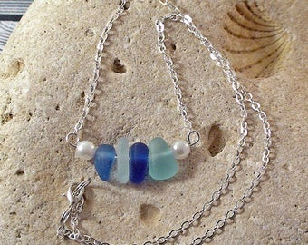 Blue Shades Seaglass Bar Necklace Sea Glass Jewelry Beach Jewelry Beach Wedding Upcycled Jewelry Necklace