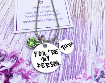 Youre My Person with Date - Love Necklace - Hand Stamped Jewelry - gift for her