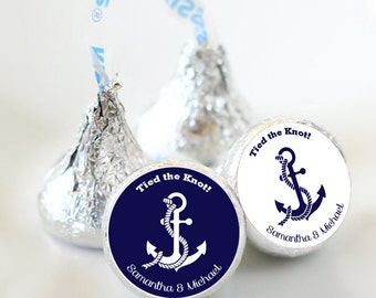 108 Tied the Knot Wedding Hershey Kiss® Stickers  -Wedding Kiss Labels - Anchor Kiss Labels - Wedding Decor - Wedding Favors