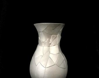 Rosenthal Phases Vase LARGEST SIZE Rare Silver PLATINUM Matte Finish Dror Benshetrit Shattered Optical Art Vase Studio Linie Line
