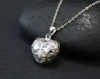 Valentine's Day Sterling Silver Open Back Gemstone Heart Locket Necklace