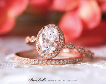 2.55 ct.tw Milgrain Art Deco Bridal Set-Oval Halo Engagement Ring-W/ All or Half Eternity Ring-Rose Gold Plated-Sterling Silver [65359RG-2]