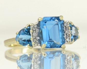 Estate THL 10K Yellow Gold 2.56ct Genuine Diamond & Blue Topaz Ring 2.6g