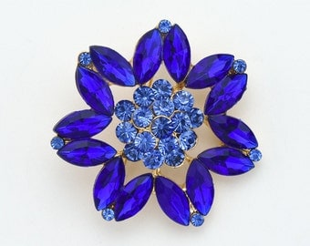 Royal Blue Crystal Brooch Vintage Wedding Bridal Rhinestone Brooches Sash Cake Brooch DIY Jewelry