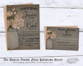 Rustic Wedding Invitation, Mason Jar Wedding Invitation, Barn Wedding,  Country Wedding Invitation,