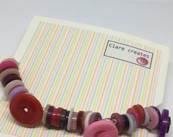 Button bracelet, pink, purple, unique gift
