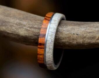 Mens Wedding Band: Desert Ironwood and Natural Shed Elk Antler Separated by Metal Line. Stag Hound, Elk Head Design