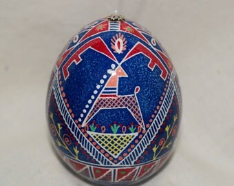 Ukrainian Easter Egg, Pysanky, Decorated chicken egg. Pisanki. Pisanka. Bold stag depiction. Unique ornament, handcrafted wax resist method