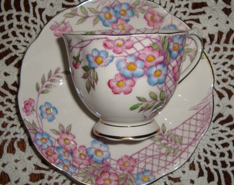 Royal Albert Crown China England - Hand Painted - Vintage Tea Cup and Saucer - Pink and Blue Flowers with Lattice