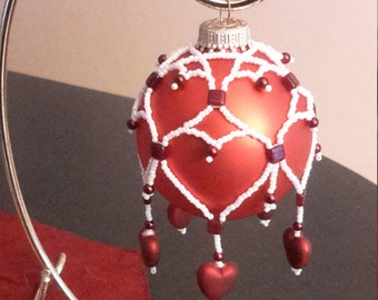 Beaded Valentine Hearts ornament bauble cover