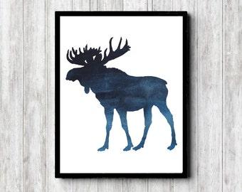 Watercolor Moose Wall Art - Moose Printable Wall Decor - Office Wall Art - Woodland / Forest Animal - 11 x 14 - 8 x 10 - 5 x 7 - Dark Blue