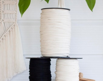 Natural Cotton Macrame Cord // 5mm Braided // Craft Rope // Raw // Unbleached // Black // Spool // New Zealand Made