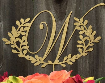 Last Name Initial Wedding Cake Topper 8inches | Calligraphy | Handlettered | Laser Cut Cake Topper by Woodword Design Studio