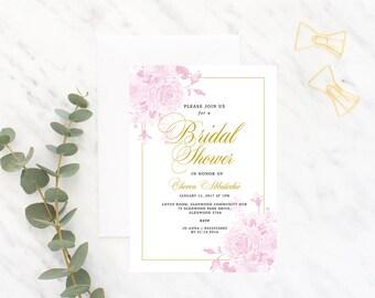 Floral, Fancy Bridal Shower Invitation Pink & Gold